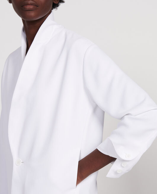 Loose polyester blazer OPTICAL WHITE