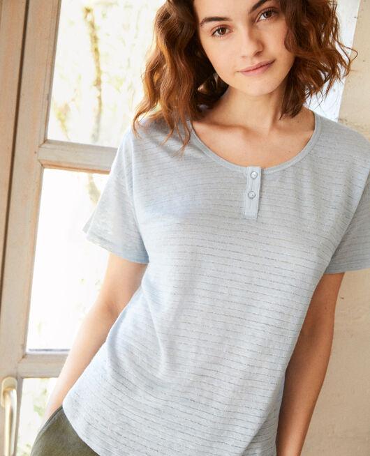 Linen-blend shiny T-shirt LIGHT BLUE