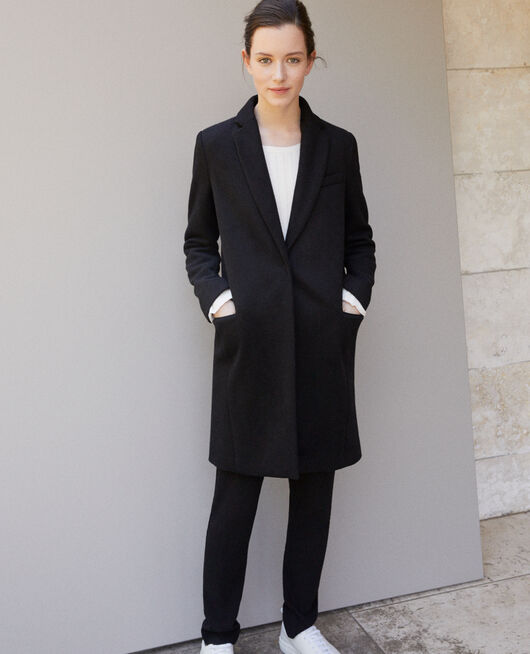 Coat with blazer collar Black
