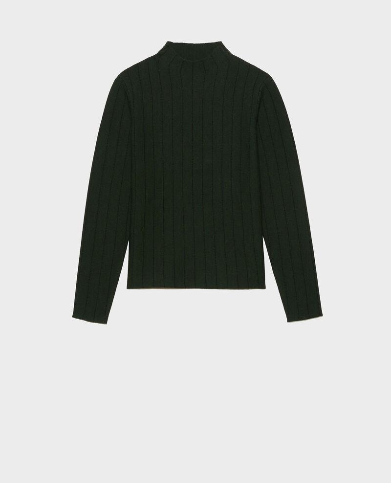 Merino wool funnel neck jumper Military black jacquard Marquisa