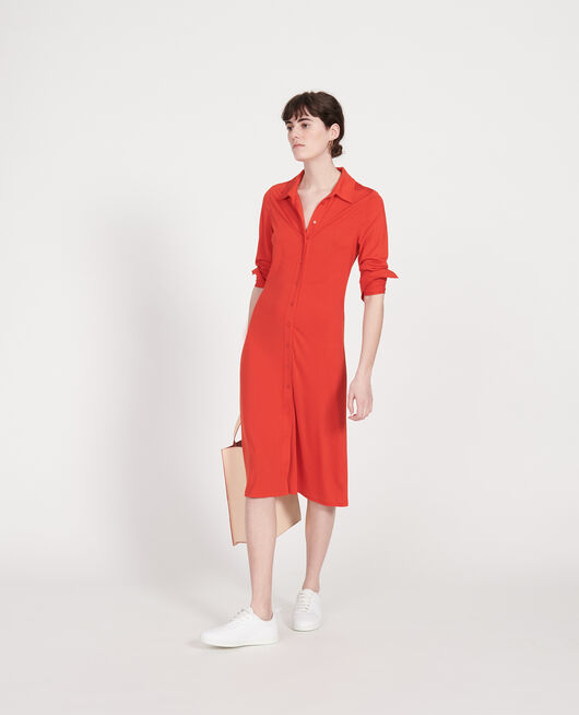 Silk dress FIERY RED