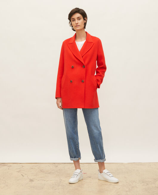 Double-sided wool pea coat FIERY RED