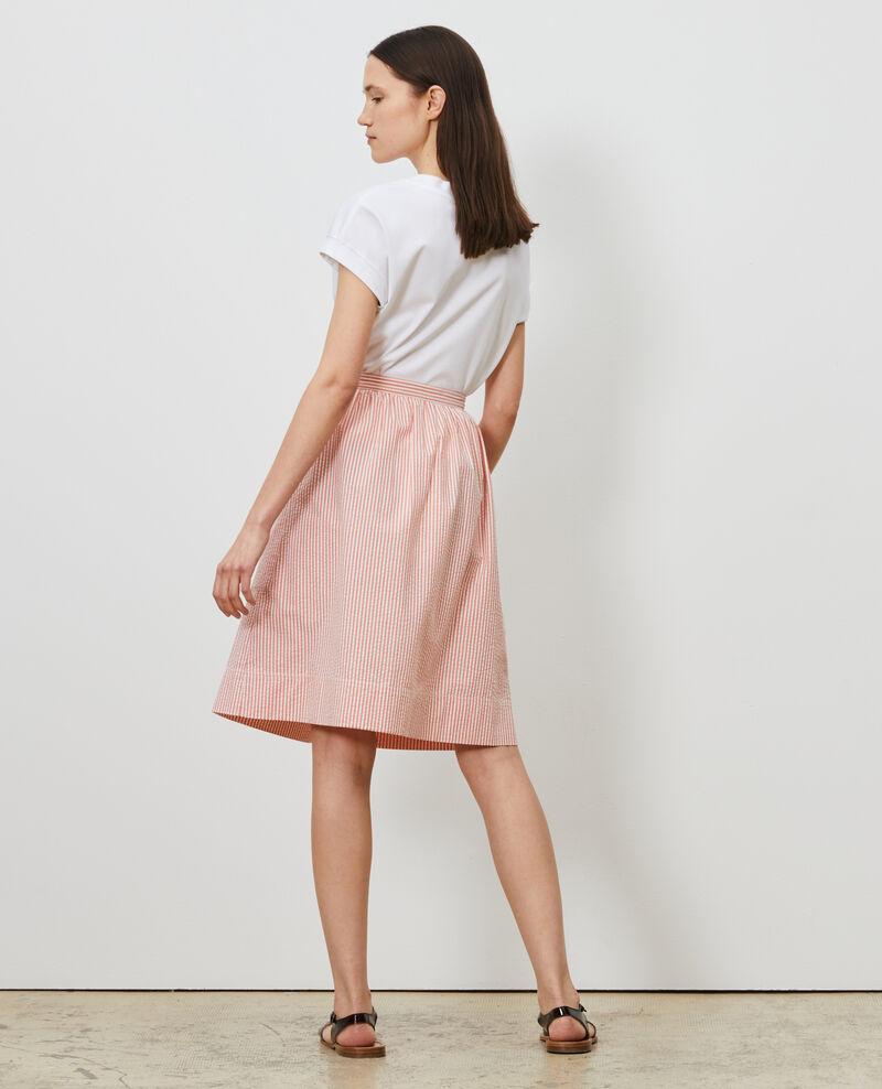 Cotton seersucker midi skirt Str purepumpkin white Nebaral