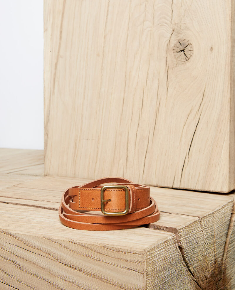 Braided leather belt Marron Inatte