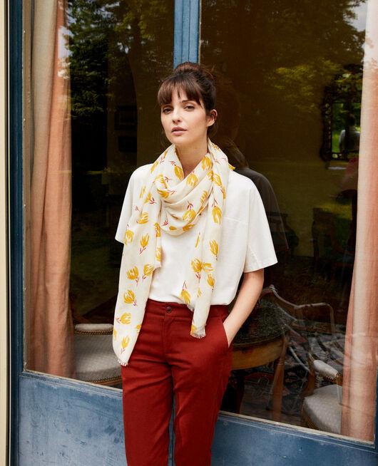 Printed scarf TULIP BUTTERCREAM