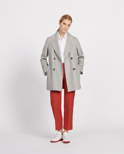 Double-sided wool pea coat LIGHT GREY