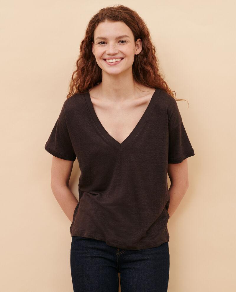Linen V-neck t-shirt Mole Locmelar