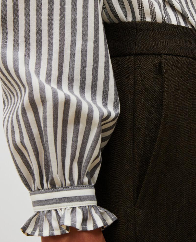 Tapered wool 7/8 trousers MARGUERITE Military green Mokita