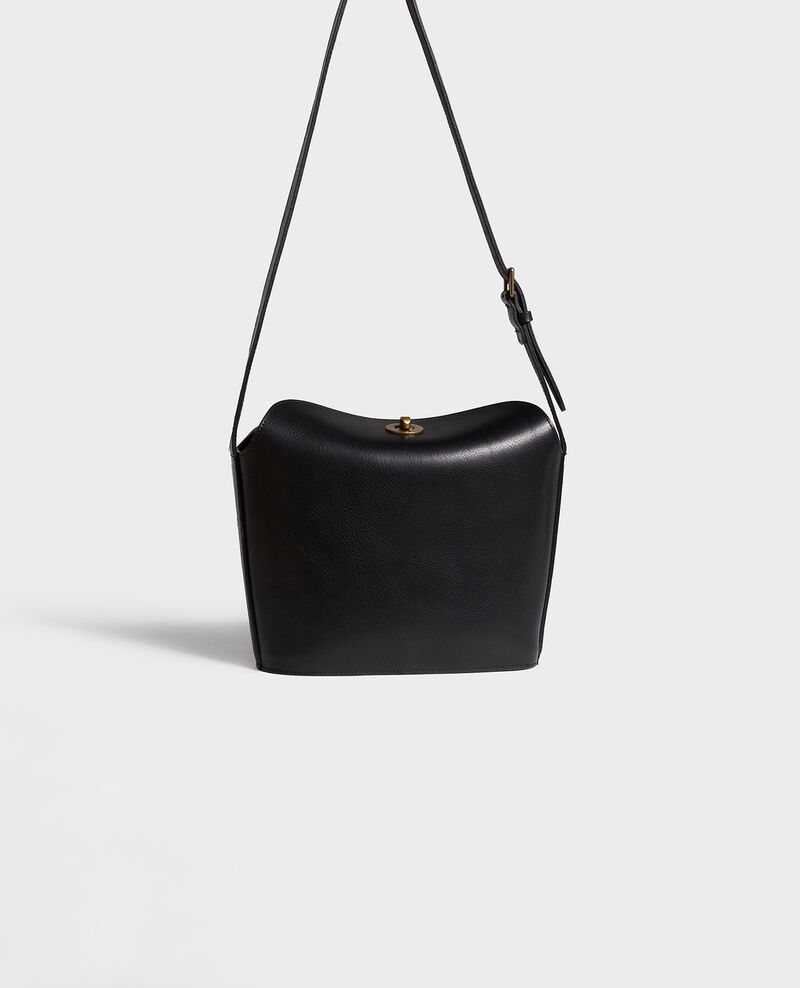 Leather handbag with short shoulder strap Black beauty Lidylle