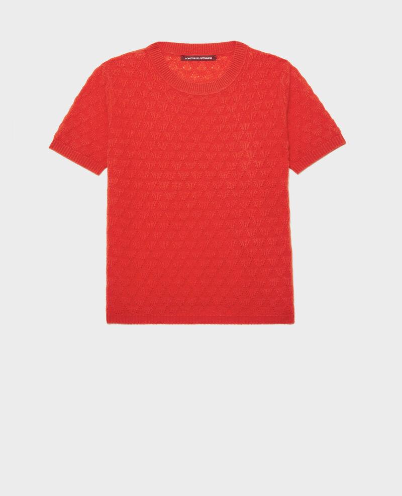 Round neck jumper, 100% Cashmere Fiery red Lotta