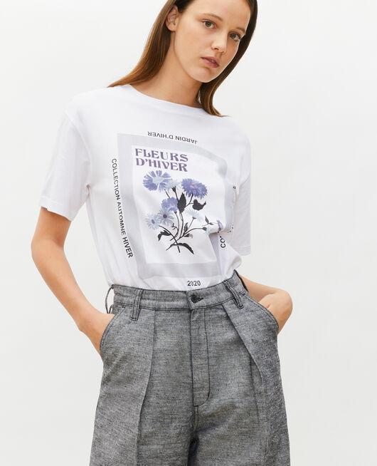 Wide cotton t-shirt LIGHT GREY MELANGE