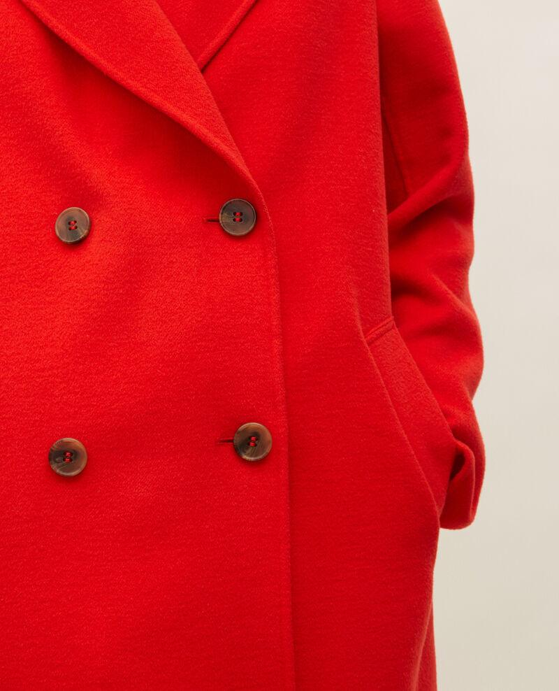 Double-sided wool pea coat Fiery red Lintot