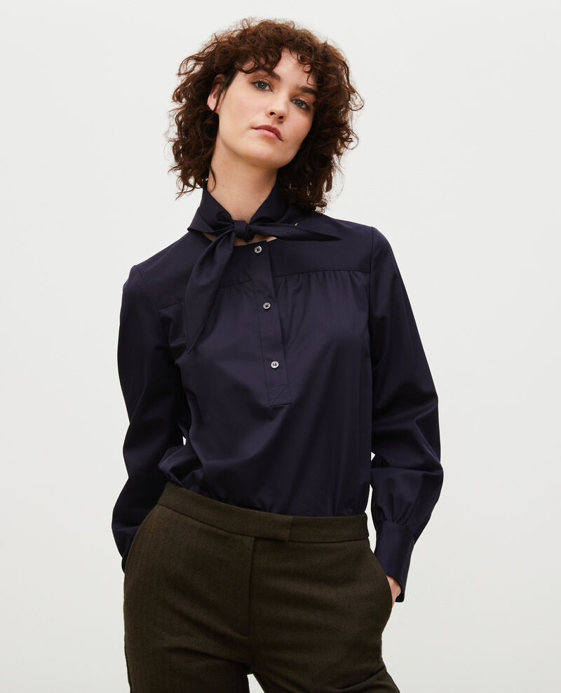 Cotton blouse with removable neck tie Night sky Manosque
