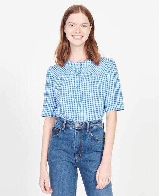 Linen blouse VICHY PRINCESS BLUE GARDENIA