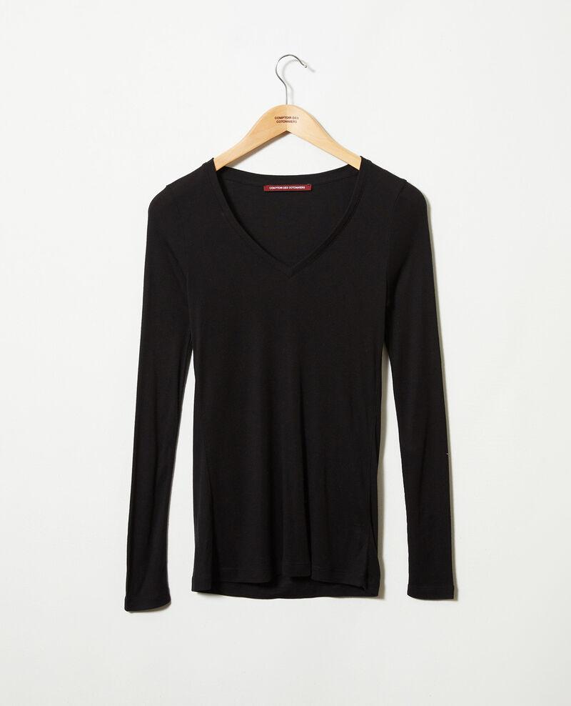 V-neck cashmere t-shirt Noir Jeeny