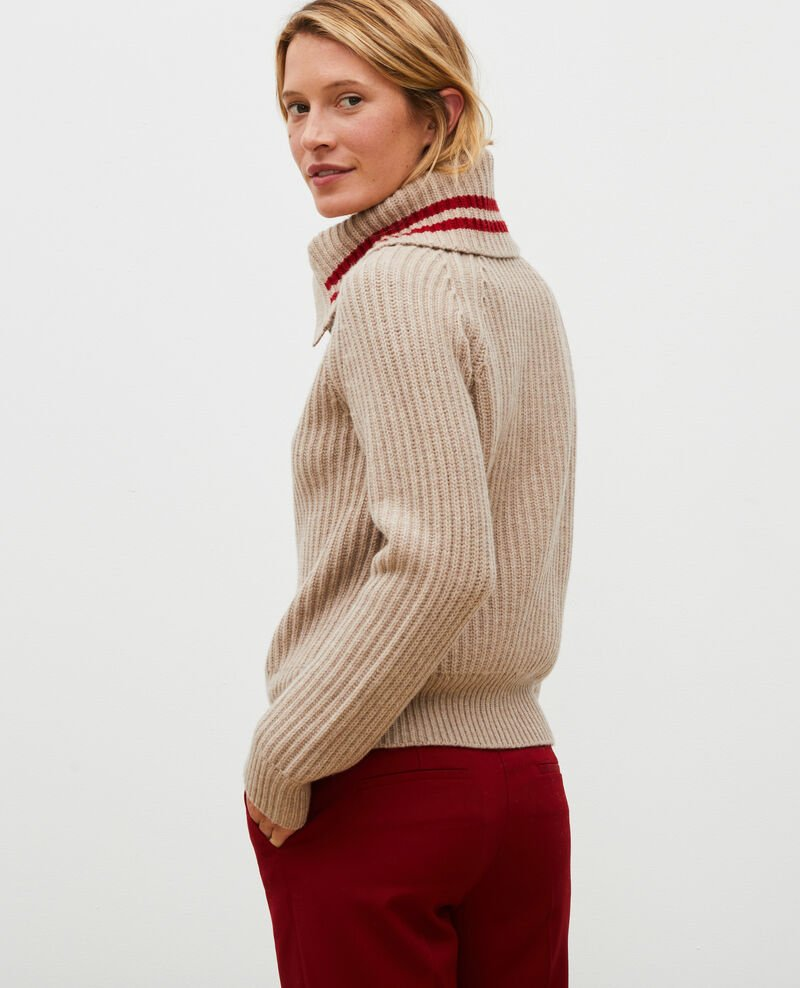 Wool half-neck jumper with a wide collar Latte Marsani