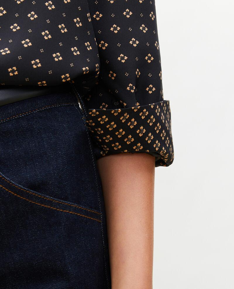 Long-sleeve silk men's shirt Print mosaique black Morigesa