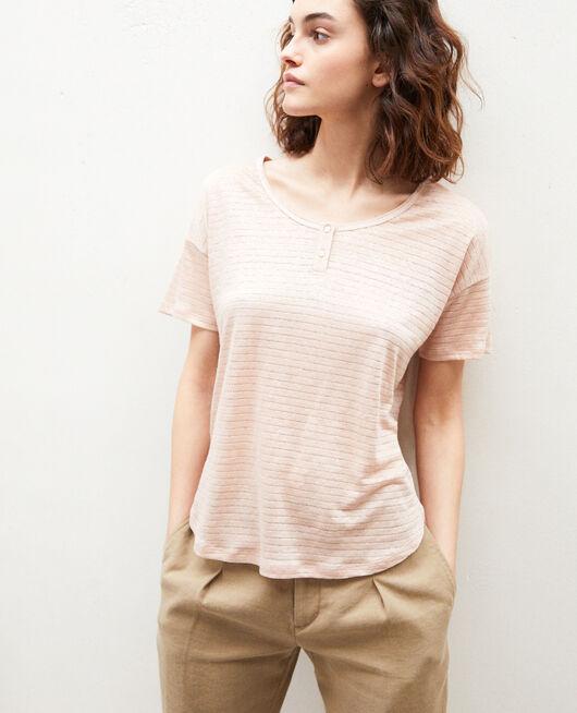 Linen-blend shiny T-shirt PINK BEIGE