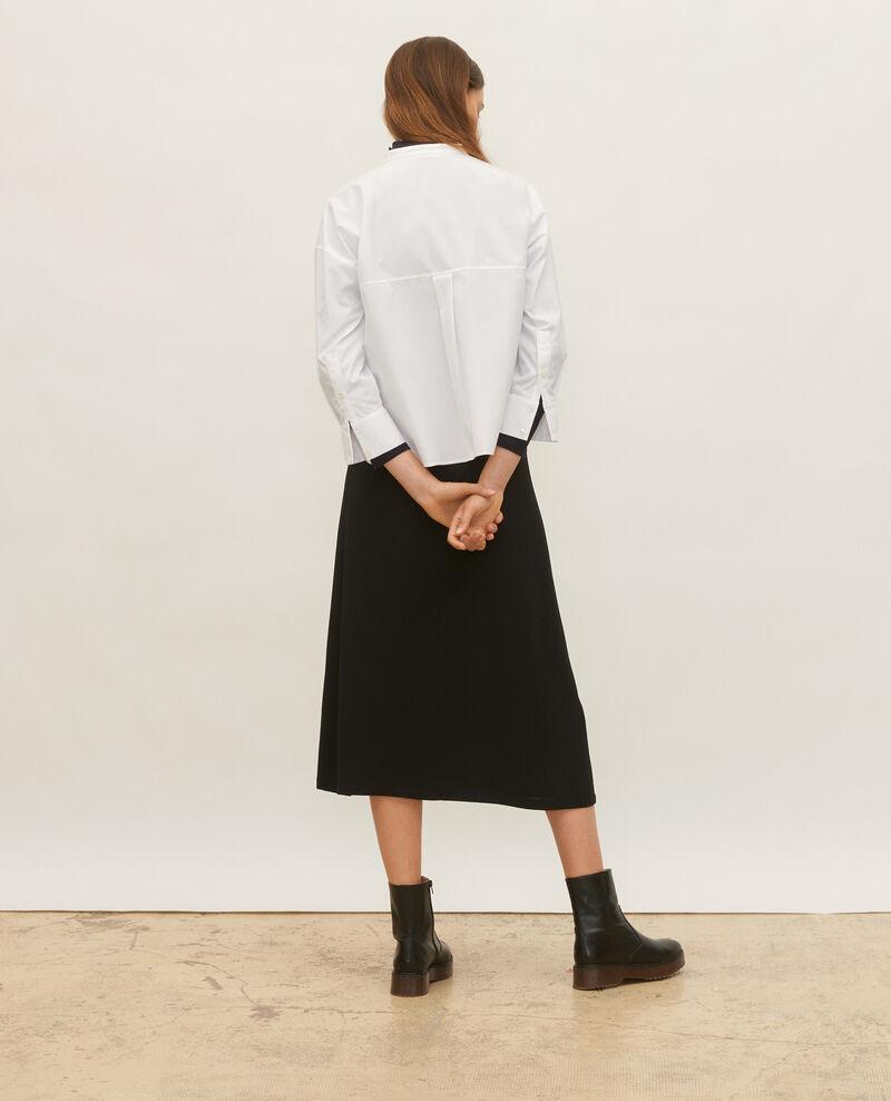 Collarless shirt in cotton poplin Optical white Lyringas