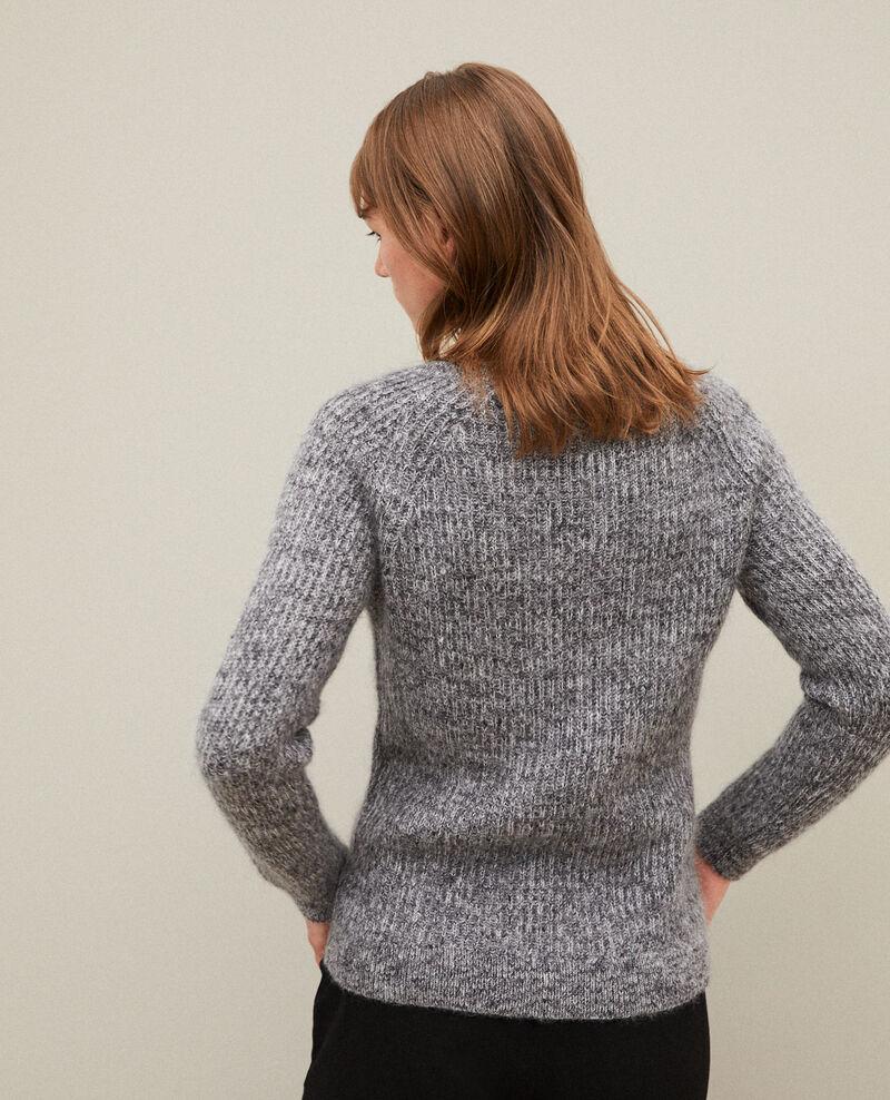 Flecked mohair jumper Light grey/noir/silver gray Girofle