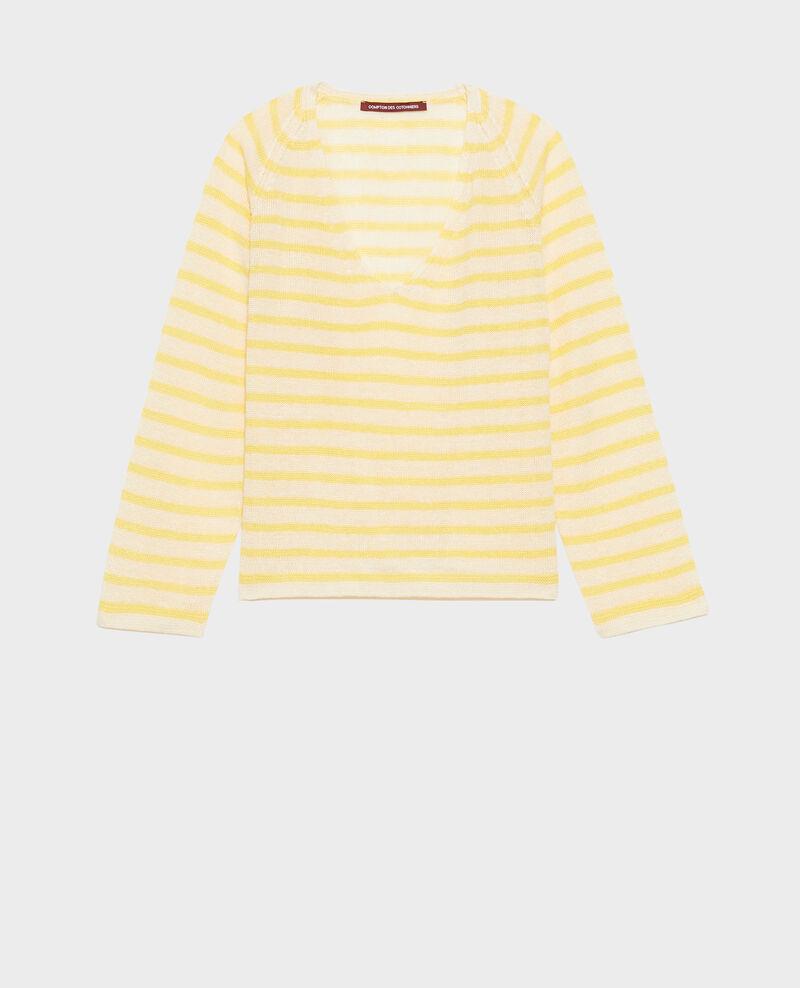 Striped linen jumper Stp cream lemn Logron