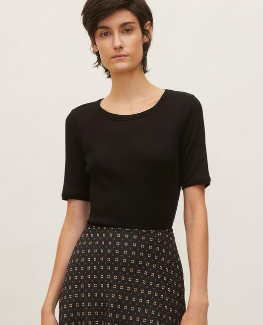 Mercerised cotton ribbed t-shirt BLACK BEAUTY