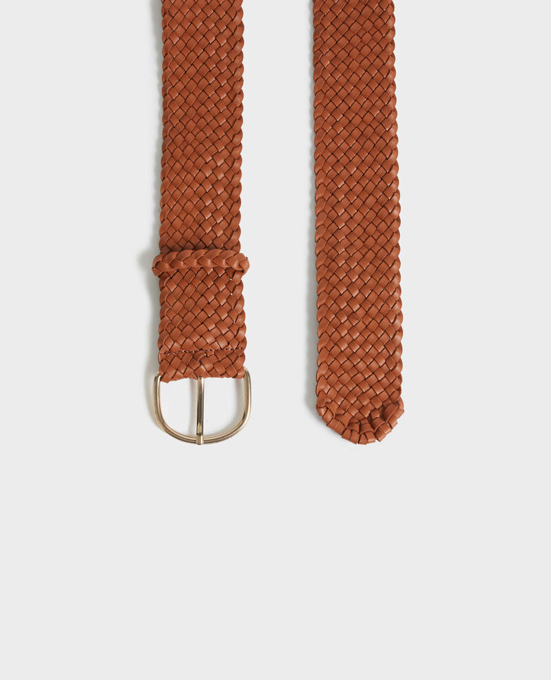 Wide braided leather belt Camel Perles