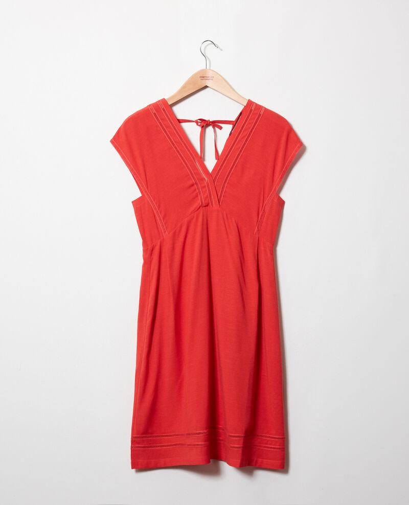 Dress with lace insert Molten lava Jadoit