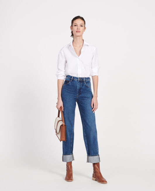 Straight-cut high-waisted jeans DENIM MEDIUM WASH