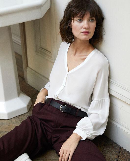 V-neck blouse White