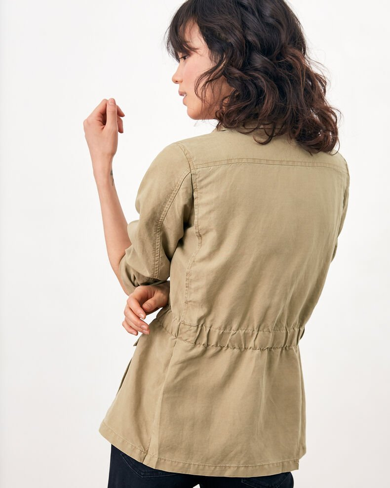 Safari jacket with linen Mastic Ficus