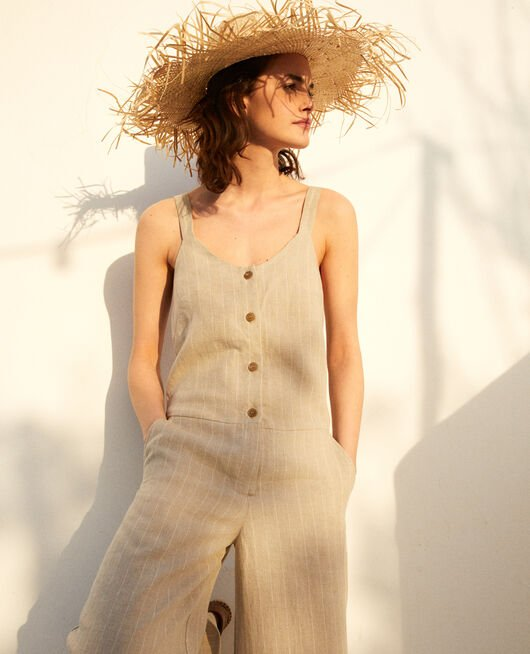 Linen jumpsuit NATURAL LINEN/OFF WHITE