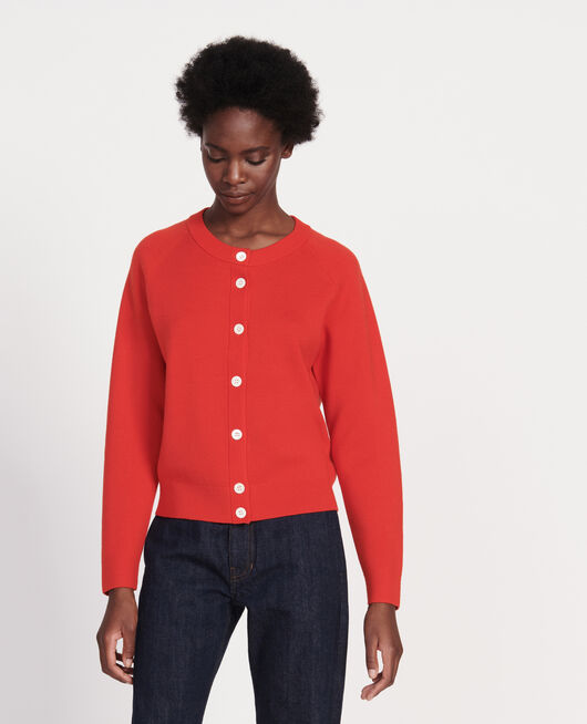 Classic wool cardigan FIERY RED