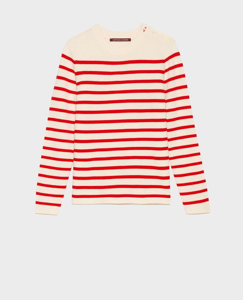 MADDY - Striped wool jumper Stripes fiery red gardenia Liselle