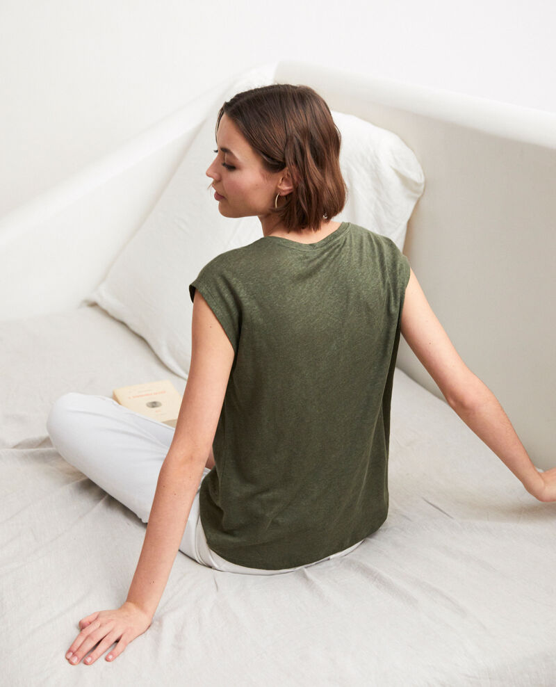 Embroidered linen T-shirt Cheng olive Imomo