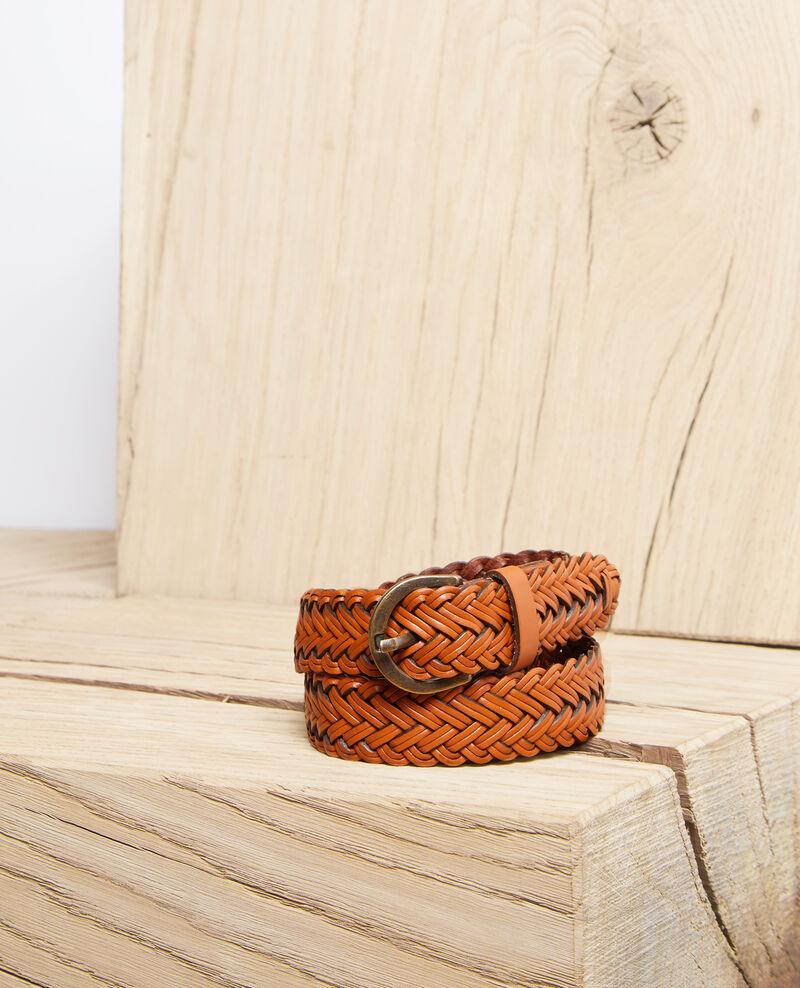 Large braided leather belt Marron Ivoba