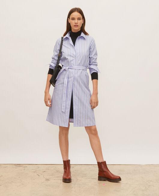 Cotton belted shirt dress POPELINE STRIPES