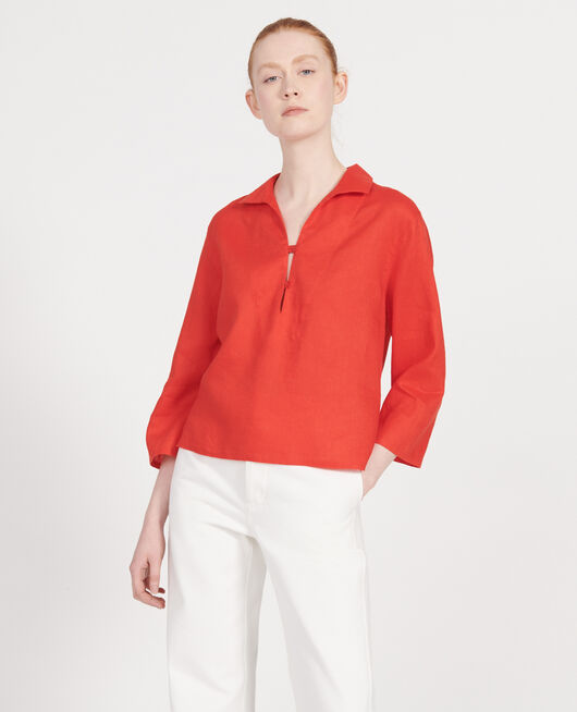 Linen blouse FIERY RED