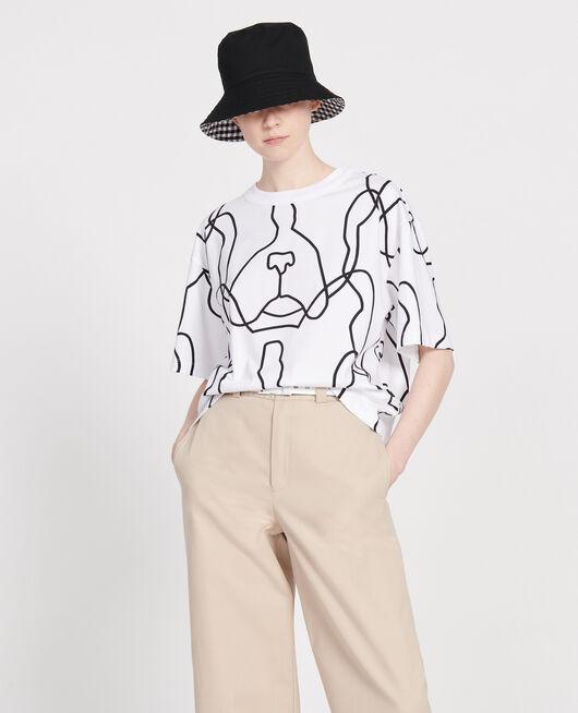 Printed cotton t-shirt OPTICAL WHITE