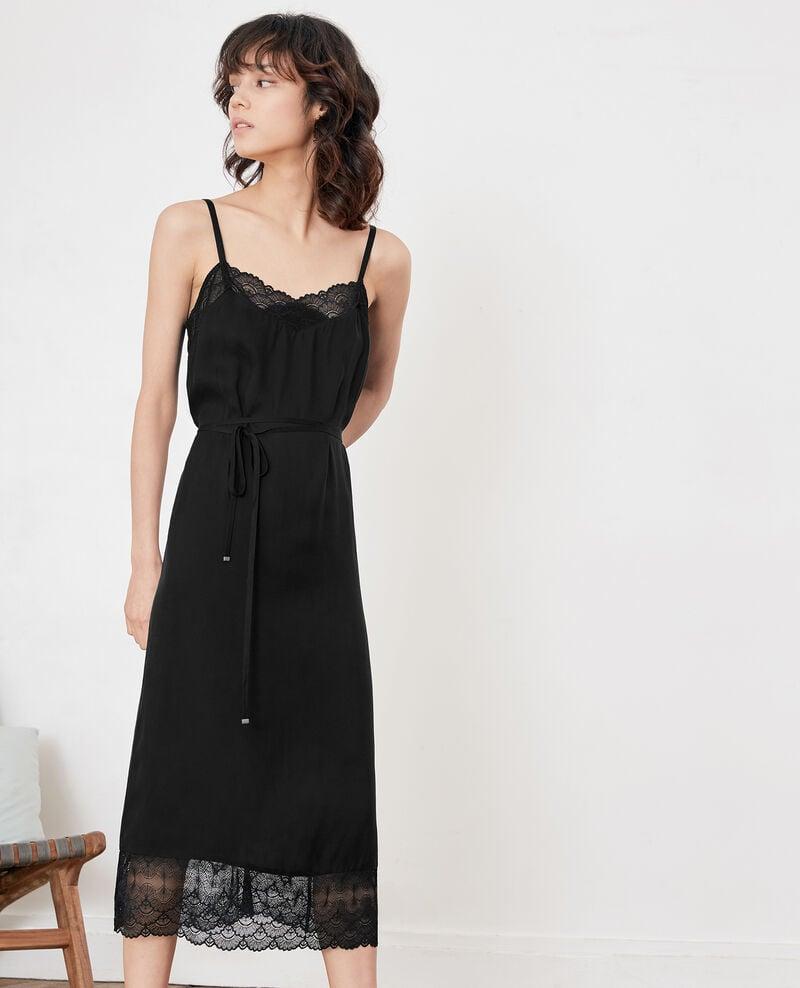 Nightie-style dress with lace Noir Fran