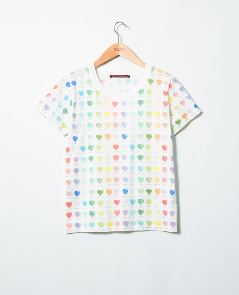Heart print t-shirt Off white Ilover