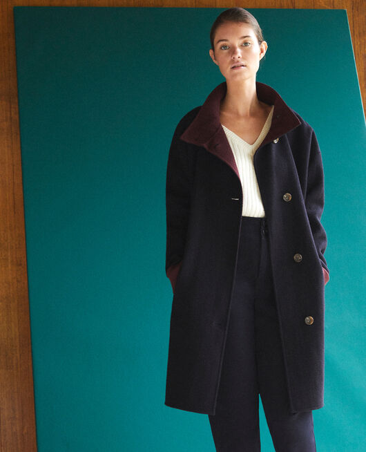 Coat with stand-up collar Blue