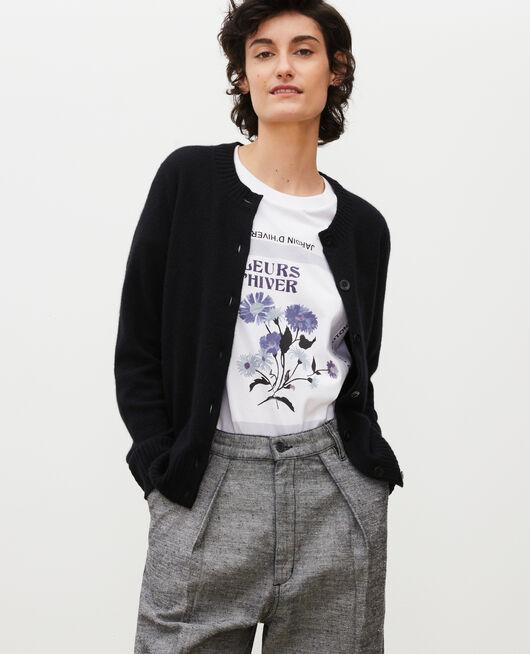 Round neck cashmere cardigan BLACK BEAUTY