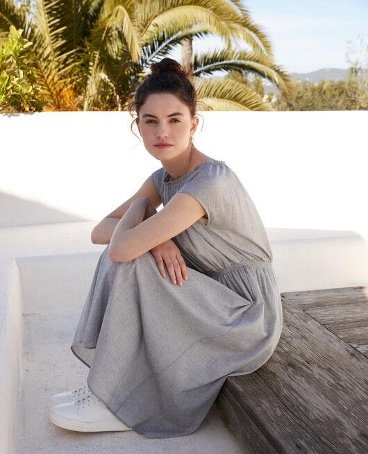 Mid-length dress NAVY/WHITE