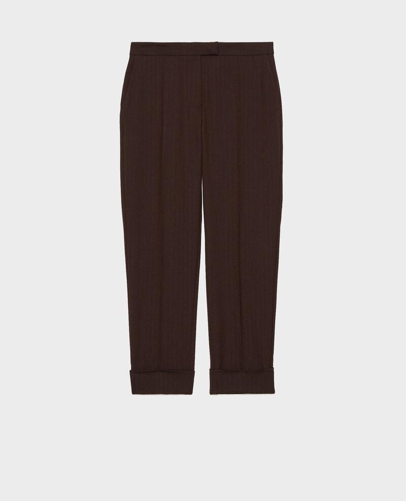 Tapered wool 7/8 trousers MARGUERITE Coffee bean Mokita