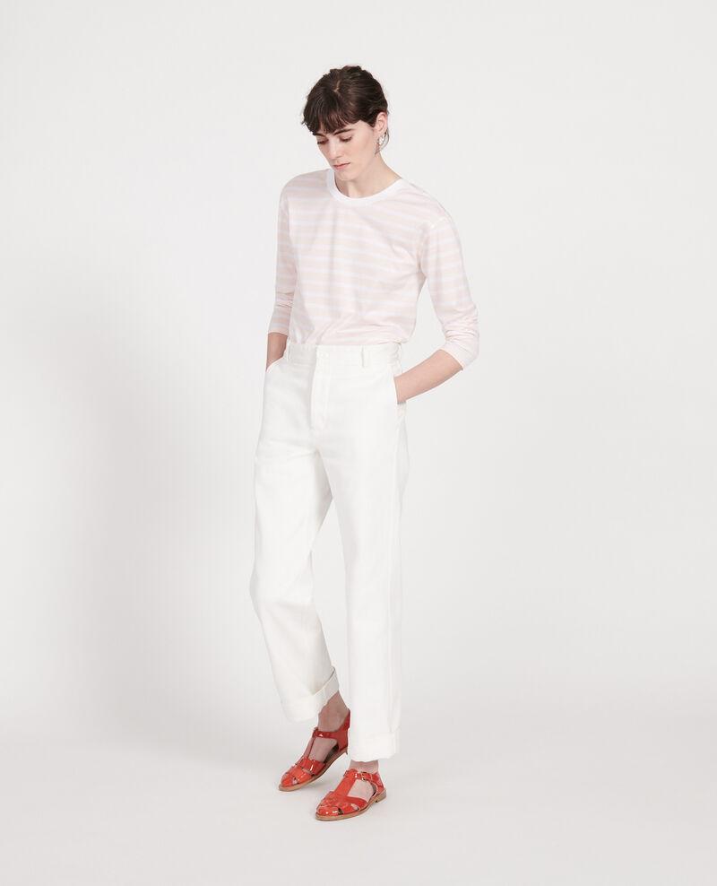 Egyptian cotton t-shirt Stripes primrose pink optical white Lana