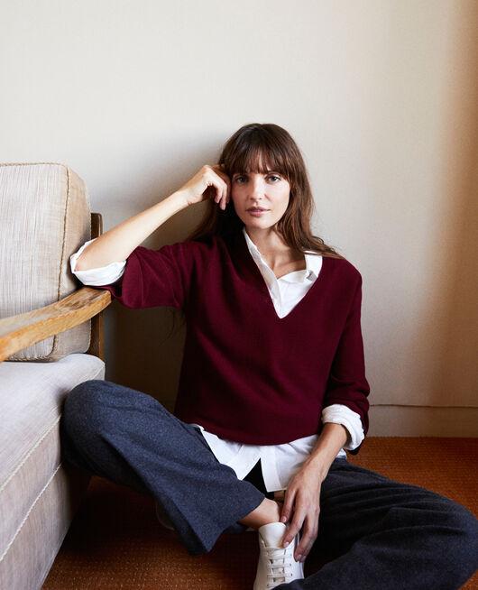 3D knit jumper 100% Merino Wool CABERNET