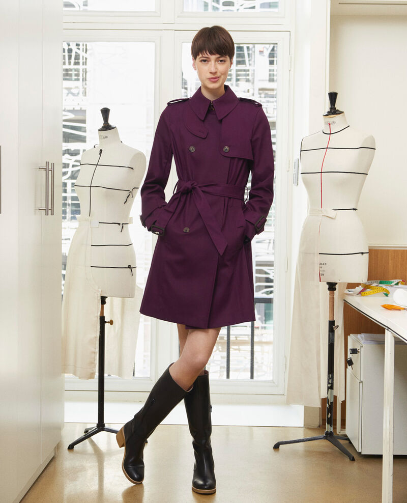 CATHERINE - Mid-length cotton belted trench Potent purple Mambert
