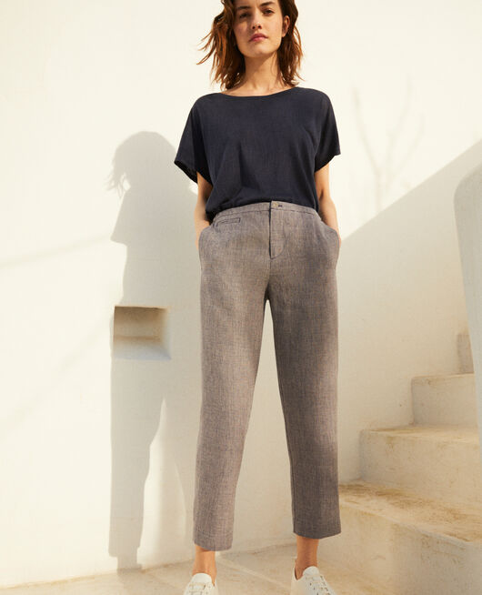 Carrot trousers NATURAL LINEN/INK NAVY
