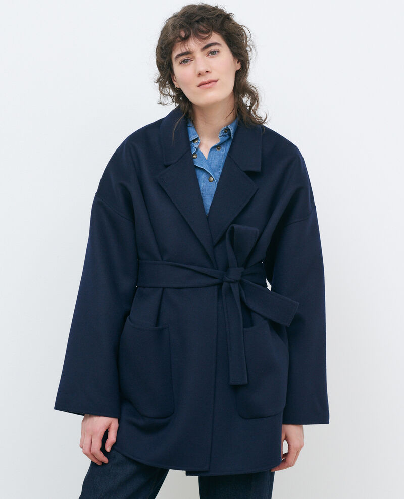 Double-sided wool and cashmere coat Night sky Pantin